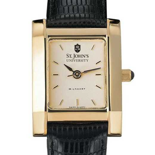 615789847175: St. John's Women's Gold Quad w/ Leather Strap