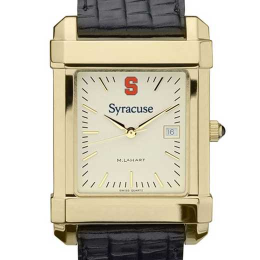 615789904229: Syracuse univ Men's Gold Quad w/ Leather Strap