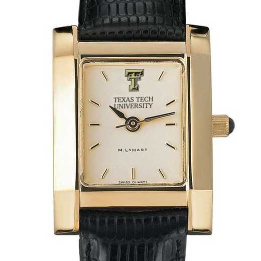 615789018940: Texas Tech Women's Gold Quad w/ Leather Strap