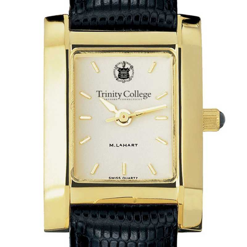 615789061601: Trinity College Women's Gold Quad w/ Leather Strap