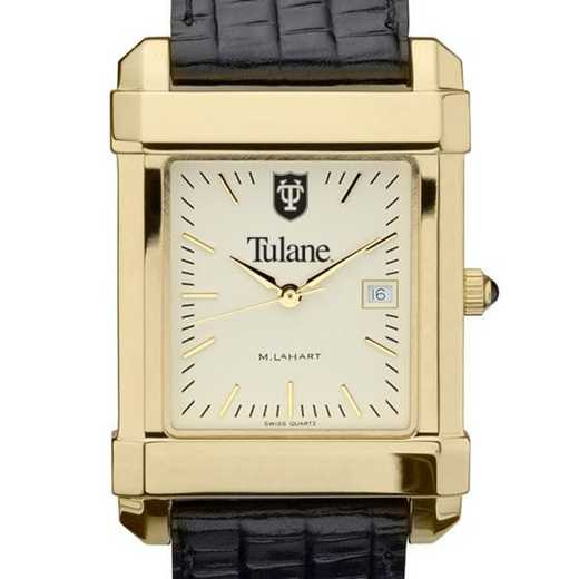 615789478669: Tulane Men's Gold Quad w/ Leather Strap
