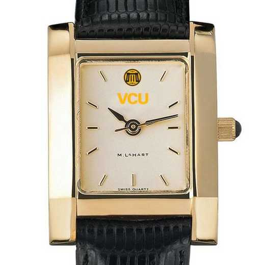 615789446347: VCU Women's Gold Quad w/ Leather Strap