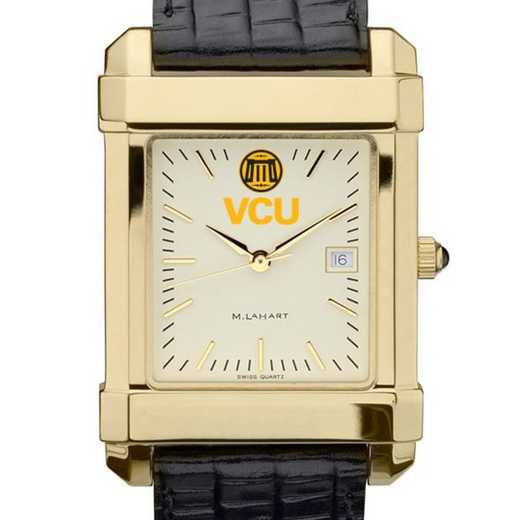 615789742647: VCU Men's Gold Quad w/ Leather Strap