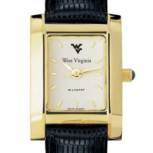615789246299: West Virginia univ Women's Gold Quad w/ Leather Strap