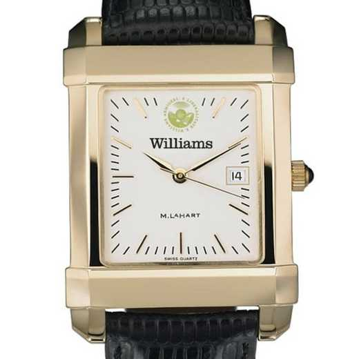 615789749974: Williams College Men's Gold Quad w/ Leather Strap