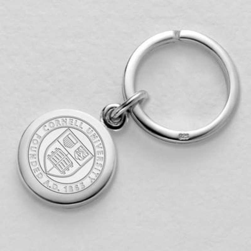 615789911029: Cornell Sterling Silver Insignia Key Ring