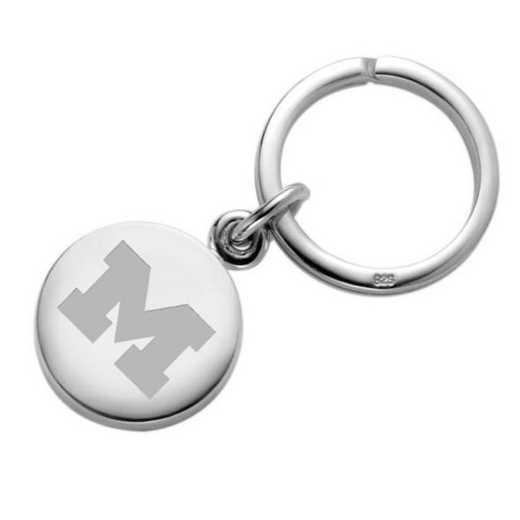 615789544722: Michigan Sterling Silver Insignia Key Ring