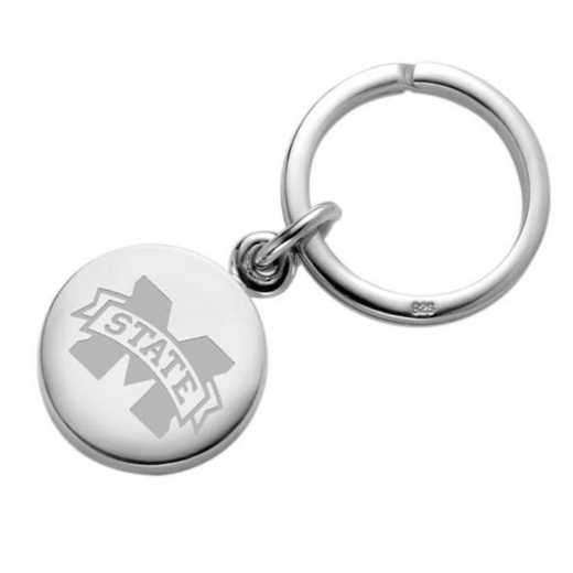 615789573975: Mississippi State Sterling Silver Insignia Key Ring