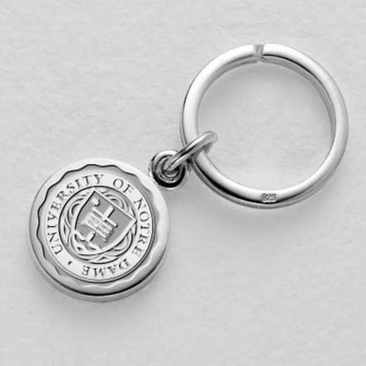 615789800705: Notre Dame Sterling Silver Insignia Key Ring