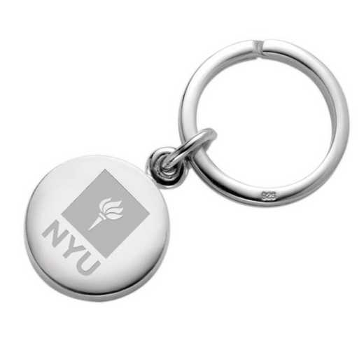 615789221197: NYU Sterling Silver Insignia Key Ring