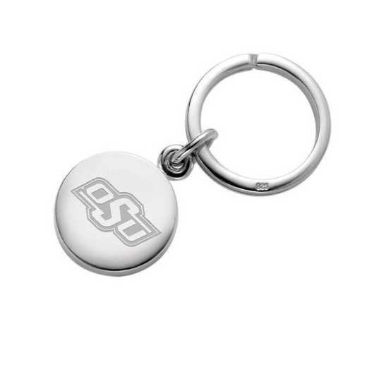 615789201434: Oklahoma State University Sterling Silver Insignia Key Ring