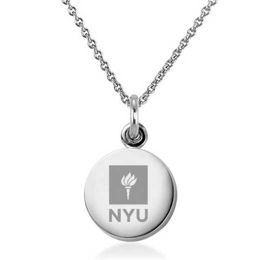 615789758464: New York University Necklace with Charm in SS