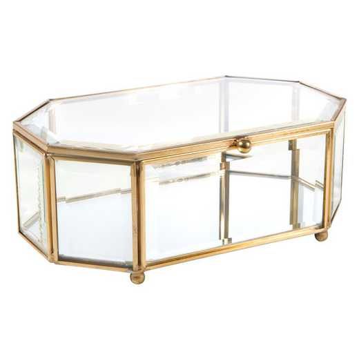 27161-GOLD: KEN  Octagonal Glass Keepsake Box in Gold