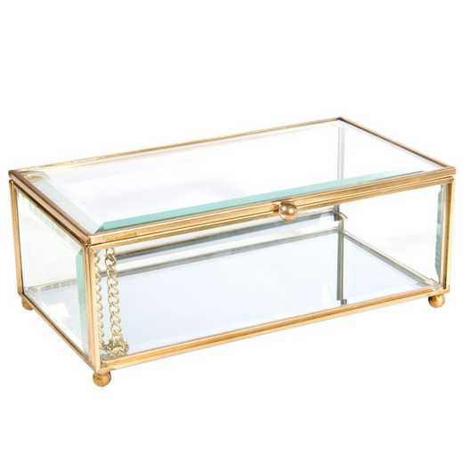 27163-GOLD: KEN Vintage Mirrored Bottom Large Keepsake Box in Gold
