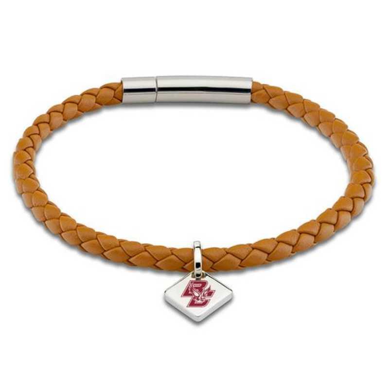 615789914532: Boston College Leather Bracelet w/SS Tag - Saddle