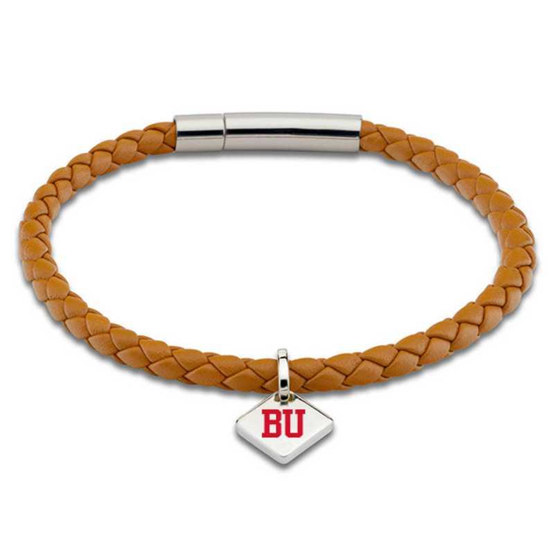 615789816225: Boston University Leather Bracelet w/SS Tag - Saddle