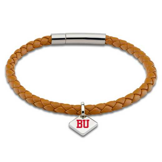 615789816225: Boston University Leather Bracelet w/SS Tag - Saddle