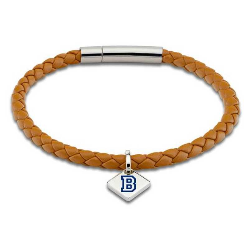 615789030225: Bucknell Leather Bracelet w/SS Tag - Saddle