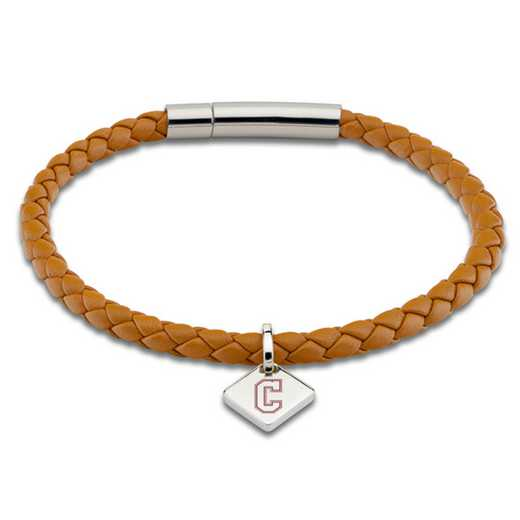 615789706366: College of Charleston Leather Bracelet w/SS Tag - Saddle
