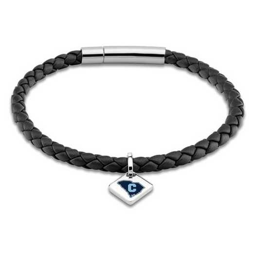 615789317166: Citadel Leather Bracelet w/SS Tag - Black