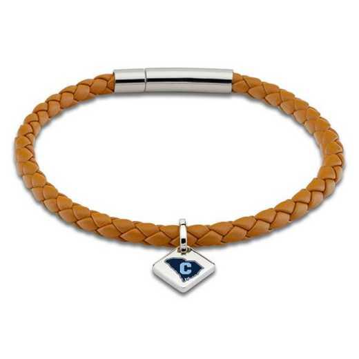 615789829287: Citadel Leather Bracelet w/SS Tag - Saddle