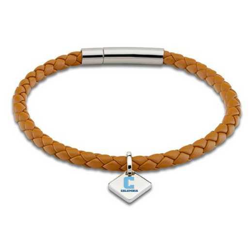 615789691266: Columbia Leather Bracelet w/SS Tag - Saddle