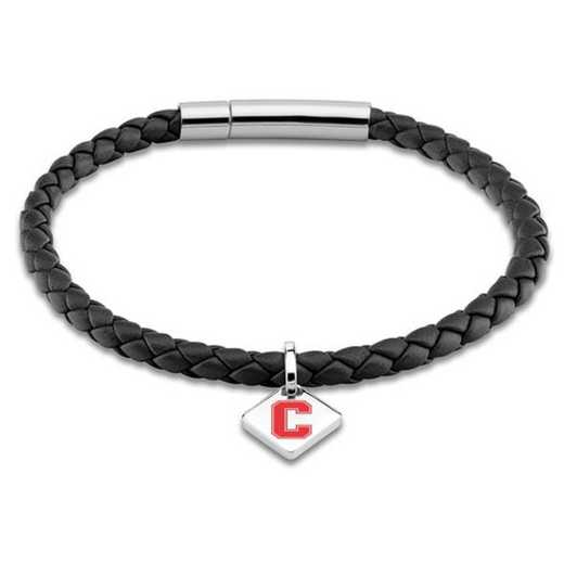 615789817444: Cornell Leather Bracelet w/SS Tag - Black