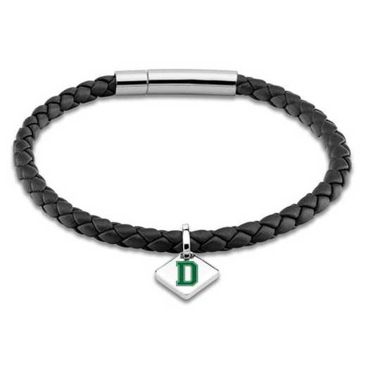 615789376231: Dartmouth Leather Bracelet w/SS Tag - Black