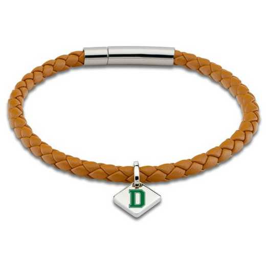 615789622970: Dartmouth Leather Bracelet w/SS Tag - Saddle