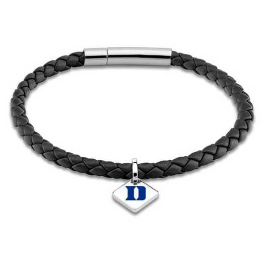 615789214625: Duke Leather Bracelet w/SS Tag - Black