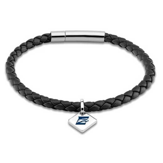 615789792147: Emory Leather Bracelet w/SS Tag - Black