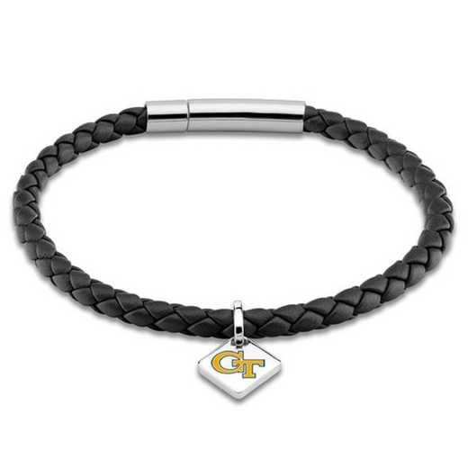 615789266389: Georgia Tech Leather Bracelet w/ Sterling Silver Tag - Black