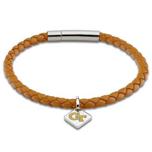 615789761419: Georgia Tech Leather Bracelet with Sterling Tag - Saddle