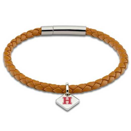 615789987932: Harvard Leather Bracelet w/SS Tag - Saddle
