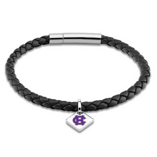 615789434184: Holy Cross Leather Bracelet w/SS Tag - Black