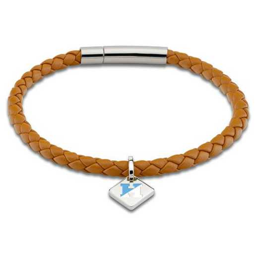 615789097457: JHU Leather Bracelet w/SS Tag - Saddle