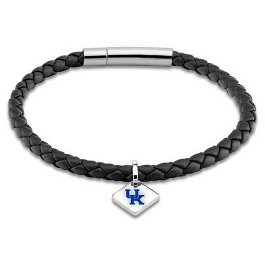 615789010012: University of Kentucky Leather Bracelet w/SS Tag - Black