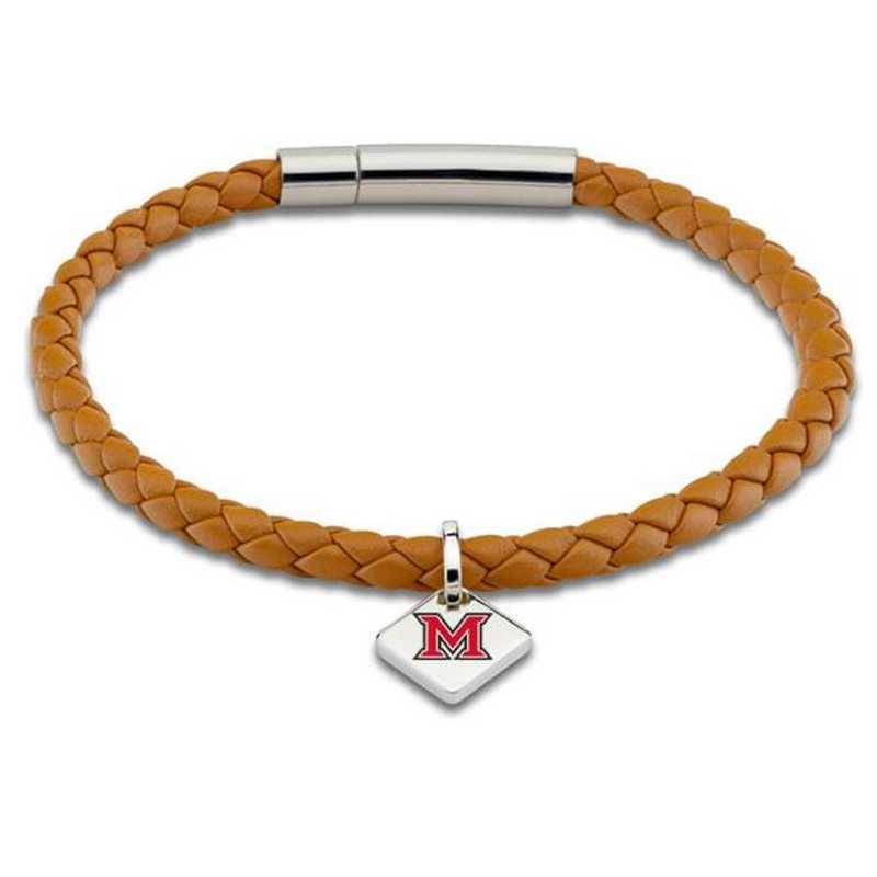 615789834892: Miami University Leather Bracelet with Sterling Tag - Saddle