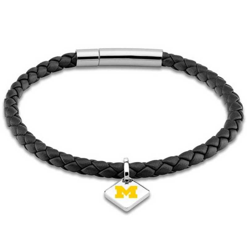 615789491767: Michigan Leather Bracelet w/SS Tag - Black