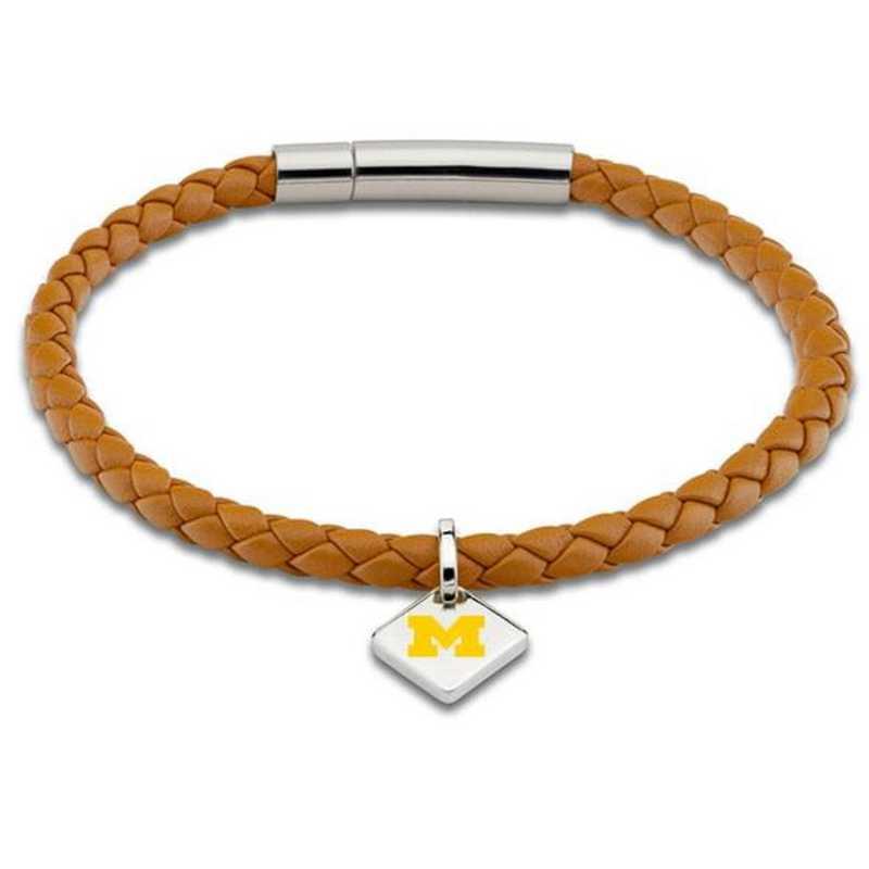 615789541882: Michigan Leather Bracelet w/SS Tag - Saddle