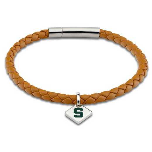 615789735014: MSU Leather Bracelet w/SS Tag - Saddle