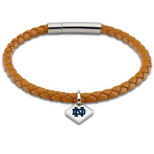 615789694090: Notre Dame Leather Bracelet w/ Sterling Silver Tag - Saddle