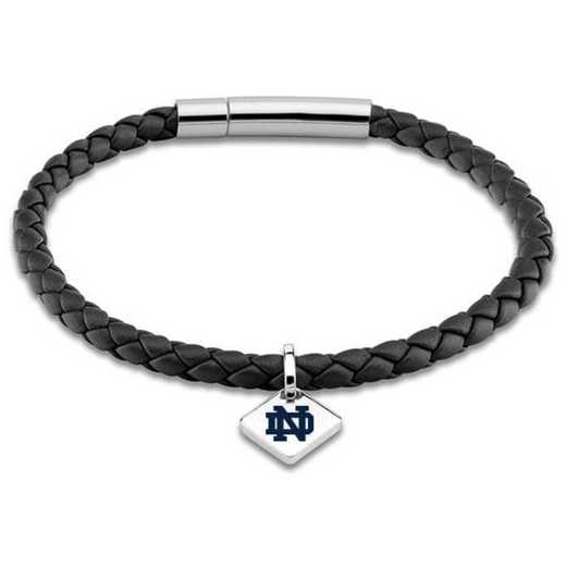 615789939580: Notre Dame Leather Bracelet w/SS Tag - Black