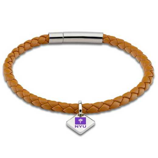 615789844112: NYU Leather Bracelet w/SS Tag - Saddle