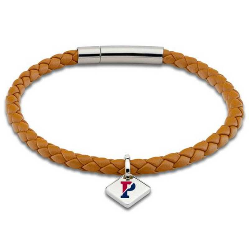 615789776710: Penn Leather Bracelet w/SS Tag - Saddle