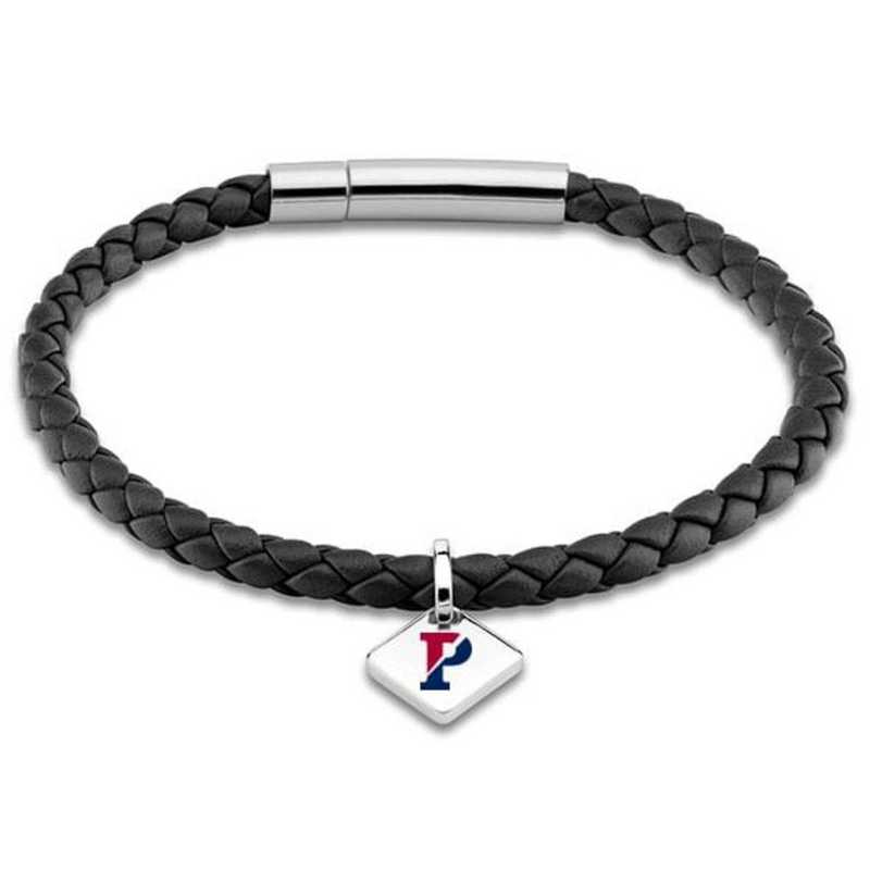 615789869948: Penn Leather Bracelet w/SS Tag - Black