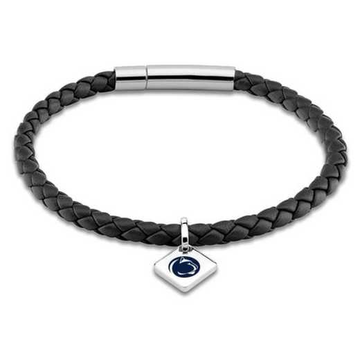 615789373834: Penn State Leather Bracelet w/SS Tag - Black
