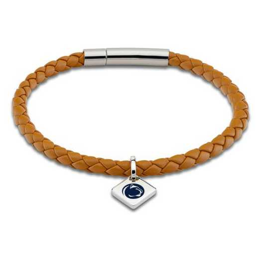 615789396604: Penn State Leather Bracelet w/SS Tag - Saddle