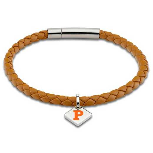 615789315353: Princeton Leather Bracelet w/SS Tag - Saddle