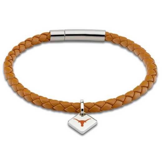 615789099338: University of Texas Leather Bracelet w/SS Tag - Saddle